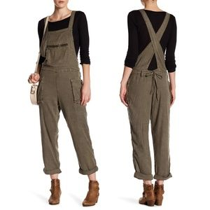 NWT Free People Linen Blend First City Overalls
